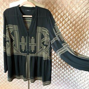 Alfani Woman Black and Tan Print Blouse